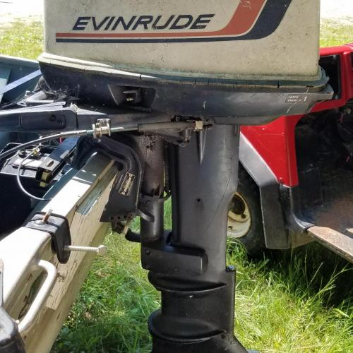 14ft  aluminum Sea Nymph fishing boat, 25hp Evinrude outboard, and trailer