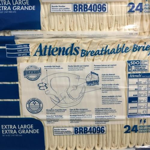 Attends Breathable Briefs 24-Pack XL BRB4096