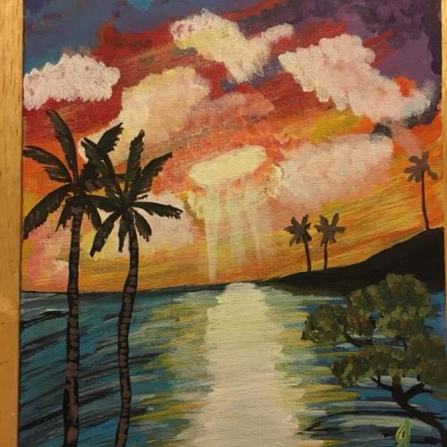8x10 Flat Canvas Tropical Waters Painting
