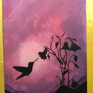 9x12 Flat Canvas Hummingbird Painting