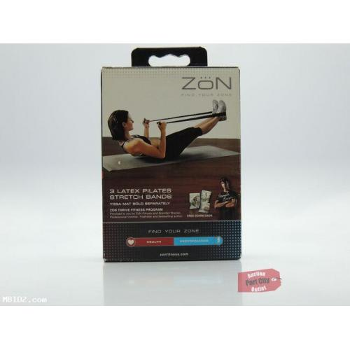 ZoN Fitness Latex Pilates Stretch Bands Black - 3 Bands -NEW IN BOX