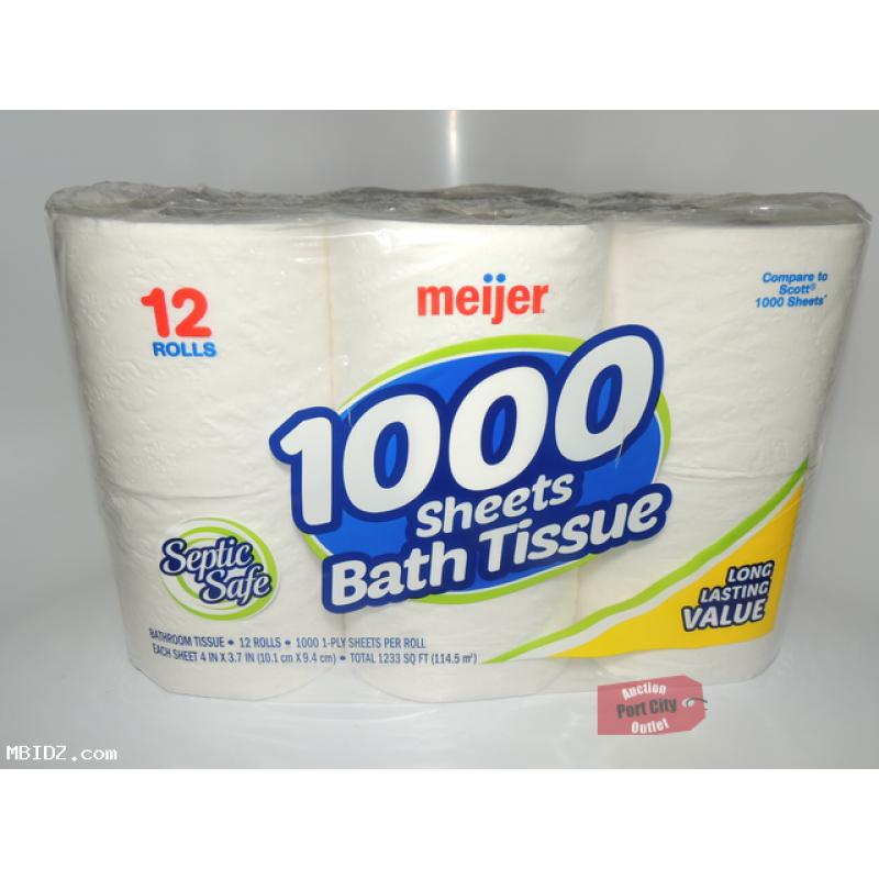 Meijer 12 Roll 1000 Sheet Toilet Tissue