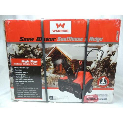 Warrior Tools Single Stage 4-Cycle Gas Snowthrower