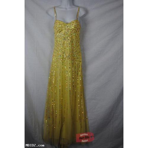 Yellow Full Length Dress With Sequins Size 6